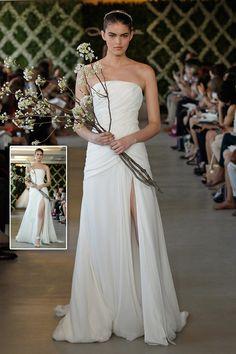 Oscar de la Renta Spring 2013 ivory silk chiffon wedding gown