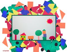 Make a picture with geometric shapes: circle, square, triangle, rectangle.