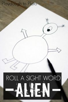 Roll a Sight Word Alien. Such a clever sight word game for kids!! {Playdough to Plato}