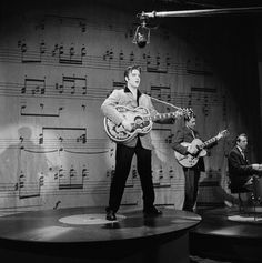 Rehearsing at the Maxine Elliot Theater for the Ed Sullivan Show, New York, 1957 (photo credit: Michael Ochs).