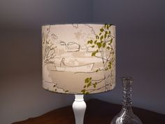 'Brompton Road' fabric covered drum lampshade