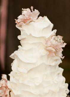 Blush and ivory flower petal cake