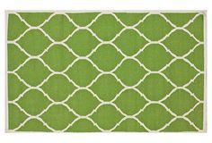 Greta Flat-Weave Rug, Lime/Ivory on OneKingsLane.com