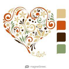 Gold, Pumpkin, Chocolate, and Sage Wedding Color Palette - free custom artwork created at MagnetStreet.com