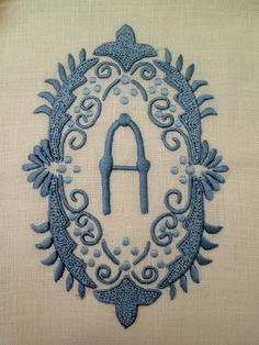French blue on ecru linen