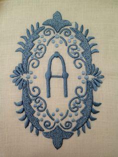French blue on ecru linen