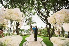White wedding on Plumeria Point overlooking Wailea Beach