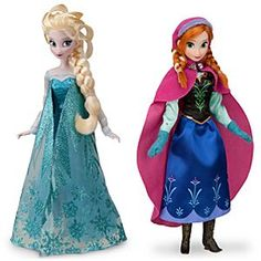 Disney Anna and Elsa Doll Set - Frozen - 11'' | Disney StoreAnna and Elsa Doll Set - Frozen - 11'' - Join the adventure with a pair of lovely dolls inspired by Walt Disney Animation Studios' Frozen. Anna and Elsa wear beautifully designed costumes with glittering accents and intricate detailing.