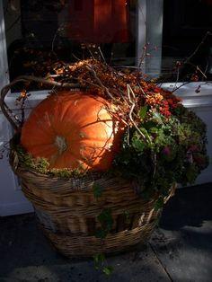 thanksgiv, fall arrang, autumn bliss, pumpkin, fallfavorit time, autumn decor, beauti, laundry baskets, fall basket