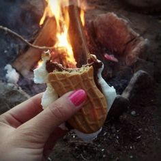 Catie Howard uses nutter butters instead of graham crackers in her smore.