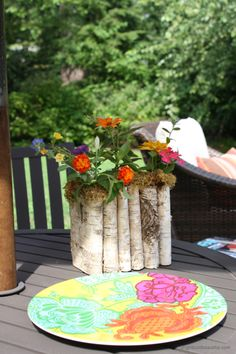 wood planter, planter inspir, patio, log