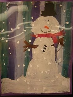 Eric Carle Dream Snow (snowflakes on transparency overlaid on snowman painting)