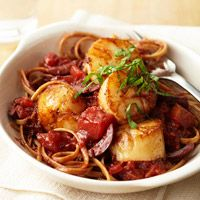 Pan-Seared Scallops with Tomato, Olives, and Fresh Basil Recipe