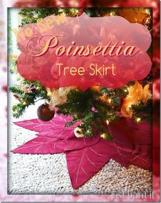 Make a NO-SEW poinsettia tree skirt that is so easy!