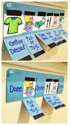 Magnet chore chart. Had I thought of this, i'd have done it when my lil' boy was this age. its interactive, luv it