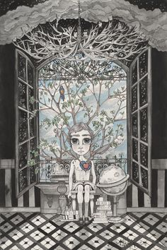 The Boy With An Apple Where His Heart Should Be - Art Print by Leyla Akdogan
