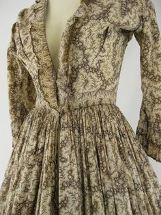 "Authentic Civil War 1860s Vintage Cotton Print Victorian Day Dress Ivory Brown | eBay. Piping on neckline & armscye, sewn in bodice boning, long pocket inside skirt. Waist: 26""; Shoulder width; 17""; waist to hem; 37""."