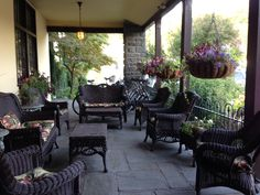 This is what I like to do on a fall day: patio porch is set for visitors. The fireplace set with blankets too!