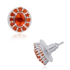 Liquidation Channel | Jalisco Fire Opal Stud Earrings in Platinum Overlay Sterling Silver (Nickel Free)