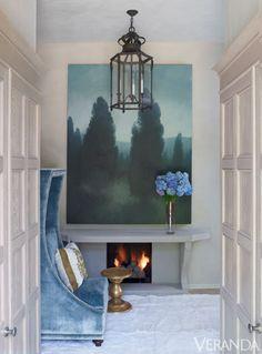 decor, blue velvet, interior, verandas, fireplac, art, foyer, blues, design