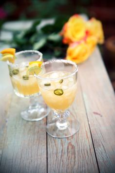 Spicy Citrus Margarita -  (1 margarita)  INGREDIENTS:  1 bottle of tequila, 750 mL  1 orange, juiced  ½ lemon, juiced  1 lime, juiced  2 serrano chiles  1 ounce simple syrup  1 cup crushed ice