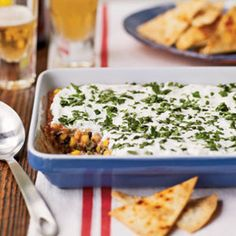 Party Bean Dip with Baked Tortilla Chips | MyRecipes.com