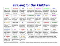 Calendar for praying for your kids.