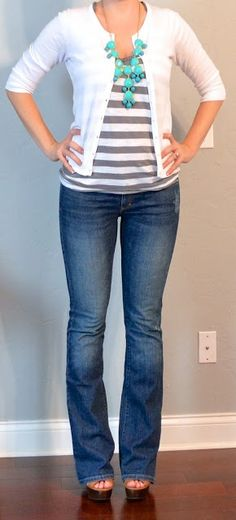 - grey striped tee, teal jewelry, white cardigan, jeans
