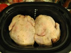 2 whole chickens in the crockpot = freeze shredded chicken for recipes and make homemade chicken broth with leftovers!