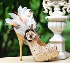 Feathered Shoe Clips. Beige Tan Ivory, Night Party Sexy Sophisticated, Autumn Fall Summer Fashion Designer Inspired, Statement Gossip Girl. $88.00, via Etsy.