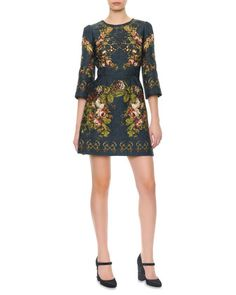 3/4-Sleeve Floral & Key-Print Dress by Dolce & Gabbana at Neiman Marcus.