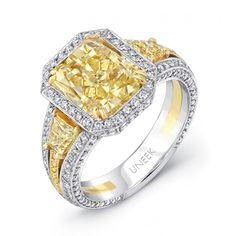 bezel set, diamond engag, yellow radiant, trapezoid diamond, yellow diamonds