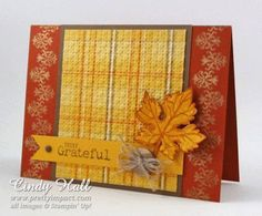"Lovely Fall ""Grateful"" Card...with a leaf and embellishment...Cindy Hall."
