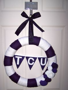 My first TCU handmade wreath! You can order one through www.akickinthebaubles.com