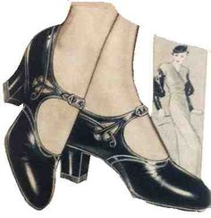 1930s Shoes History - Black One Strap/Mary Jane Shoes