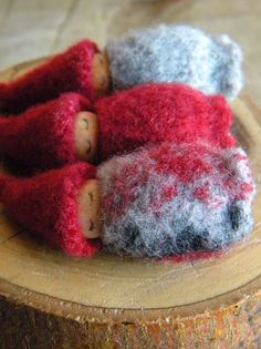 Waldorf Gnome Baby Snowflake Sleeping Pouch Red by MamaWestWind