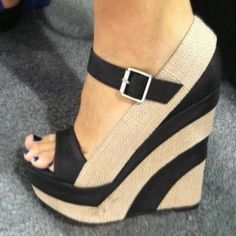 Nude/black high wedge. Perfect.