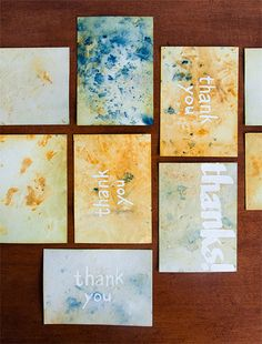 What to do with the once-glorious wedding garlands and bouquets after the big day? When they sadly begin to wilt, you can plunder those bouquets for the natural colorants to dye your thank- you cards! We used yarrow, marigold, and hollyhock to give these notecards a wash of delicate hues and confetti marks. -Natalie Stopka