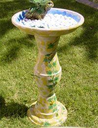 diy birdbath with terra cotta pots