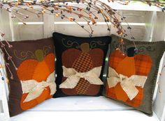 Pumpkin Pillow Wool Applique Pattern by SimplyUniqueBySheila, $7.95