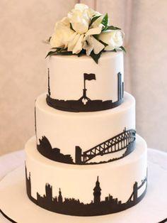 City skyline black and white wedding cake