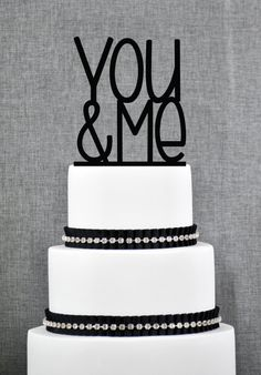 Modern Wedding Cake Topper - You & Me Cake Topper by Chicago Factory