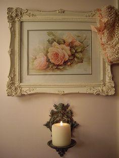 Shabby Cottage Chic framed pink roses