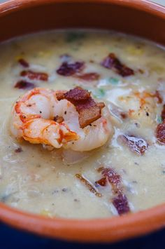 {Sweet corn and shrimp chowder.}