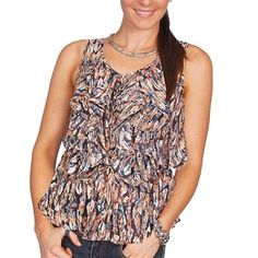 Scully Women's Sleeveless Feather Ruffle Blouse