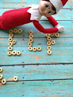 Elf on the Shelf Ideas: Spell with Cereal #ElfOnTheShelf