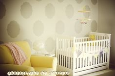 Beautiful stencil design in this nursery accent wall! #projectnursery #stencil