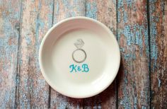 Weddings: Engagement Ring Holder Dish  Perfect Gift for Bride toBe Customize with the couple's wedding color and initials.