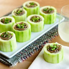 Chilled Soba in Cucumber Cups... Vegan