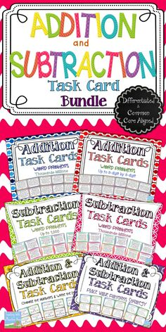 Addition & Subtraction Task Card Bundle! *HUGE* set of 200 Addition & Subtraction Task Cards! There is a set of task cards here for everyone, making your job as a differentiating teacher a little bit easier. This discounted bundle includes 6 sets of task cards to support common core addition & subtraction standards! $